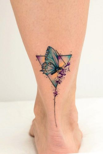 Butterfly Tattoo Idea For Leg #triangletattoo #butterflytattoo