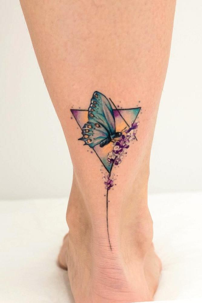 Butterfly Tattoo Idea For Leg #triangletattoo #butterflytattoo