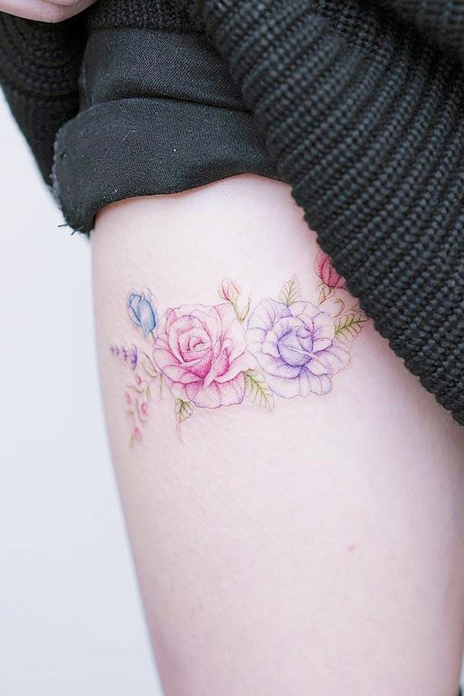 Watercolor Tattoo Idea For Leg #flowertattoo #roses