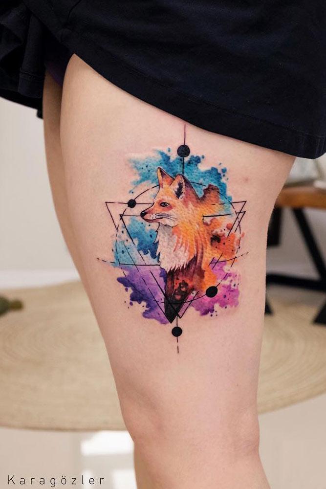 Watercolor Tattoo Design With Fox #foxtattoo #galaxy #geometric