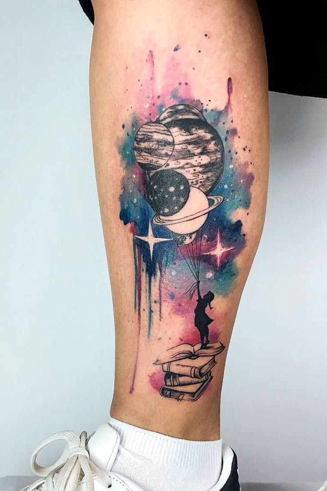 Magic Galaxy Tattoo For Leg #galaxytattoo #spacetattoo