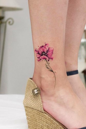 Watercolor Flower Tattoo Design #flowertattoo