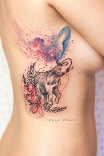 Galaxy Watercolor Tattoo With Elephant #elephanttattoo #galaxytattoo