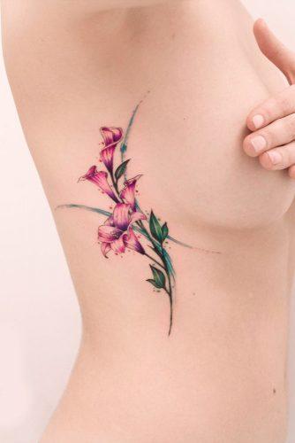 Cute Side Watercolor Tattoo Idea With Flowers #flowertattoo