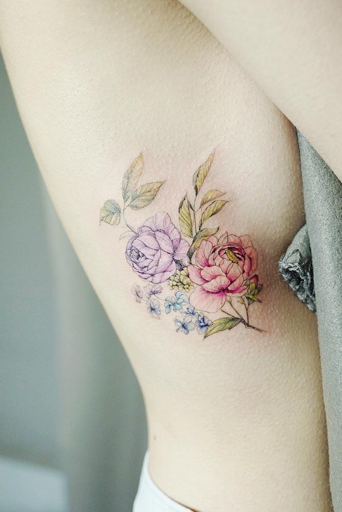 Flower Tattoo Design On The Side #flowertattoo #roses