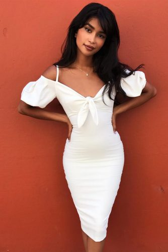 White Bodycon Dress With Juliet Sleeves #bodycondress #mediumdress