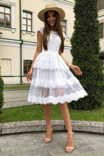 White Knee Length Graduation Dress #mediumdress