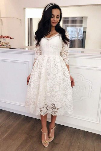 White Long Graduation Dress With Long Sleeves #mediumdress #longsleevesdress