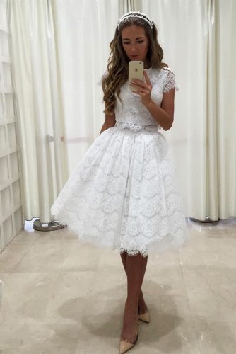 Knee Length White Prom Dress With Pockets