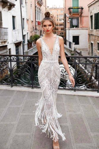 Long Lace White Prom Dress With A Flapper Skirt #longdress #vneckdress