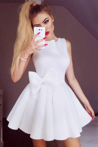 Classic White Dress With A Bow #shortdress #bow