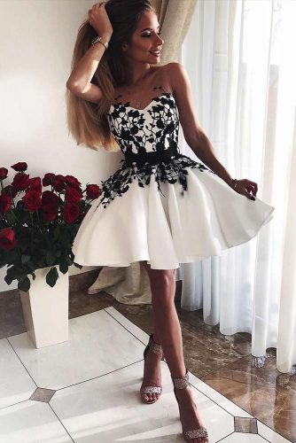 White Short Dress With Black Patterns #shortdress #offshoulderdress
