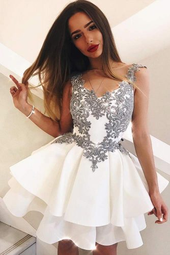 White Short Graduation Dress With A Double Skirt #shortdress