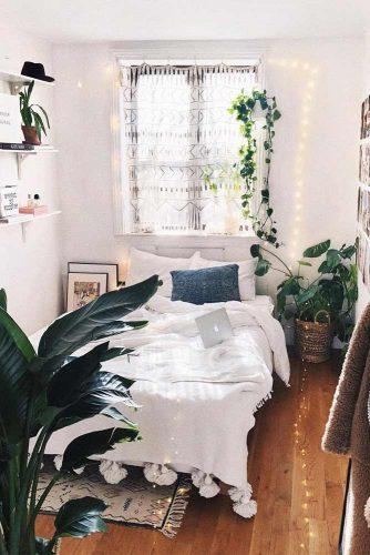 Boho Bedroom Design With String Lights