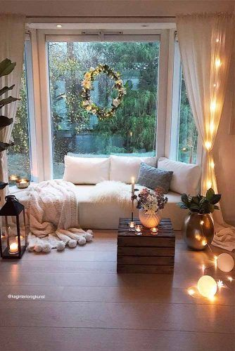Living Room Interior With String Lights #livingroomdecor