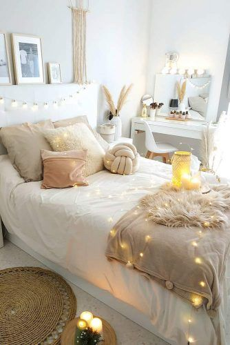 White And Pastel Colors For Bedroom Decor With String Lights Accents #pastelcolors