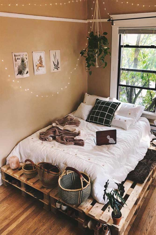 Simple Boho Bedroom With String Lights Decor #ledstringlights #bohobedroom