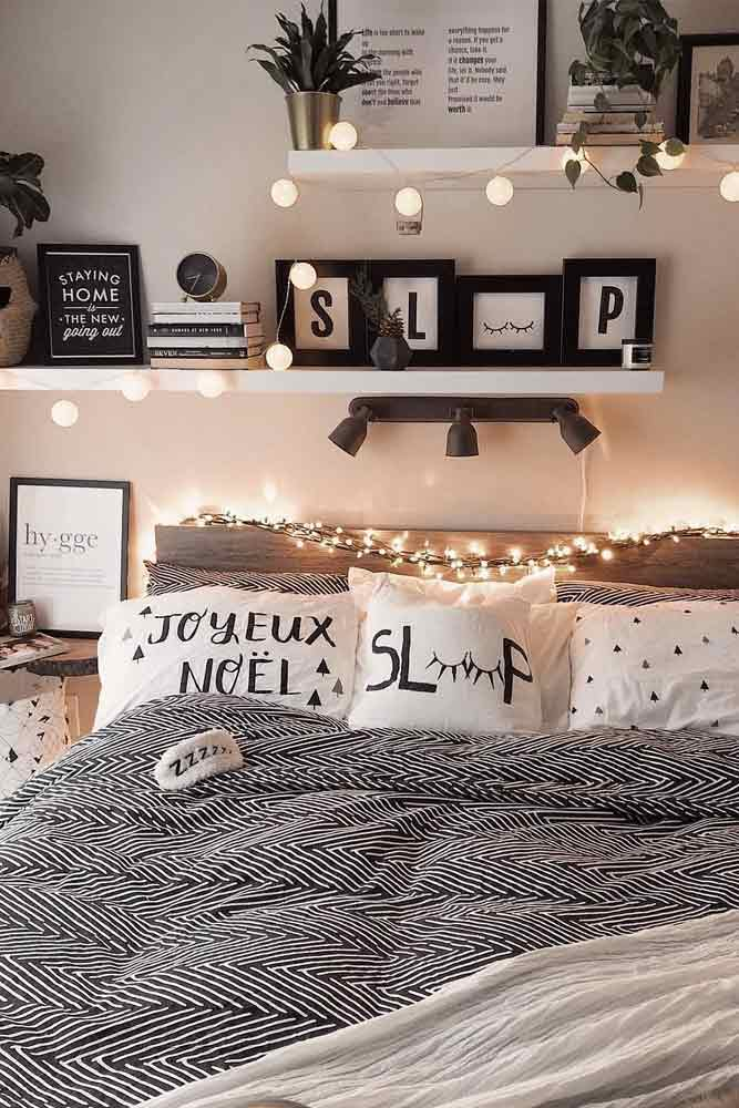 Wall Decor Idea With String Lights #pillows #pictures