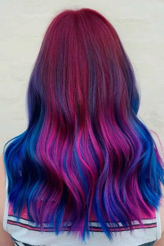 Blue And Purple Balayage On Ruby Base #balayagehair #multicoloredhair