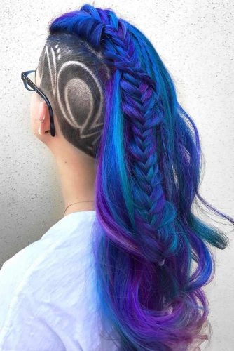 Fade Haircut For Long Blue And Purple Hair #fadehaircut #headtattoo #braidedhairstyle