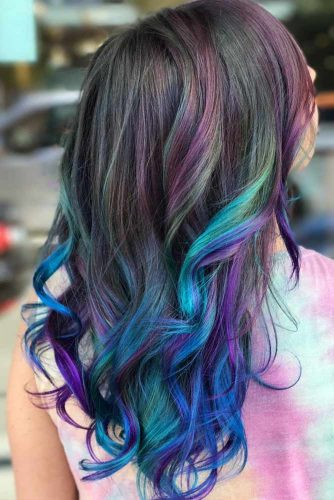 Blue And Purple Ombre For A Natural Hair Color #longhair #ombrehair #highlights