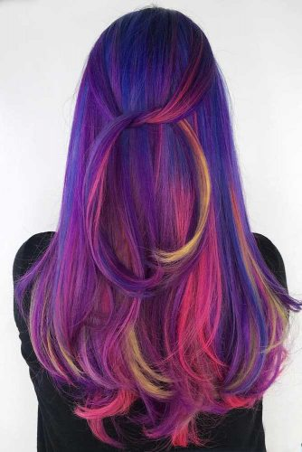 Long Straight Blue And Purple Hair With Pink Highlights #longhair #straighthairstyle #pinkhighlights #ombrehair