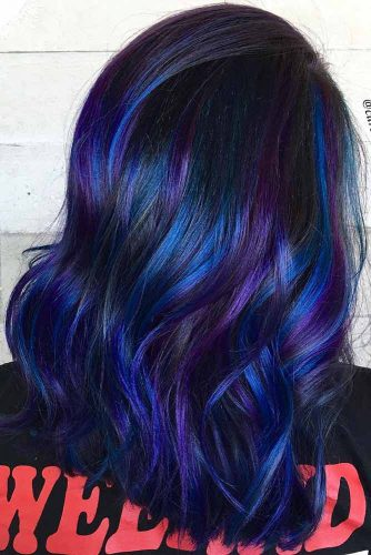 Long Bob Hairstyle With Dark Blue And Purple Colors #galaxyhair #longbob #wavyhair
