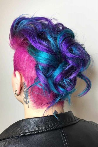 Blue And Purple Curly Mohawk Hair Style #mohawk #mohawkhairstyle #shortwavyhair