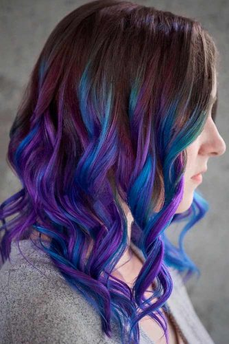 Blue And Purple Tips And Natural Brown Roots #ombrehair #balayagehair