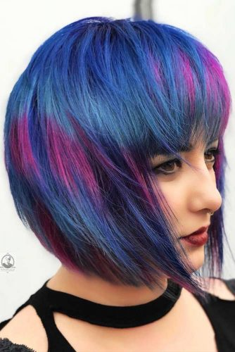 Bob Haircut With Bangs For Blue And Purple Hair #shortbob #bobhaircut
