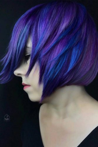 Straight Layered Bob Haircut With Blue And Purple Color #shortbob #bobhaircut