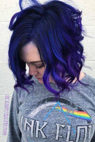 Blue Bob Hairstyle With Purple Ombre #shortbob #bobhaircut #wavybob