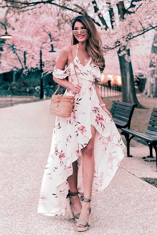 Asymmetrical Long Dress With Pink Flowers #summerdress #casualdress