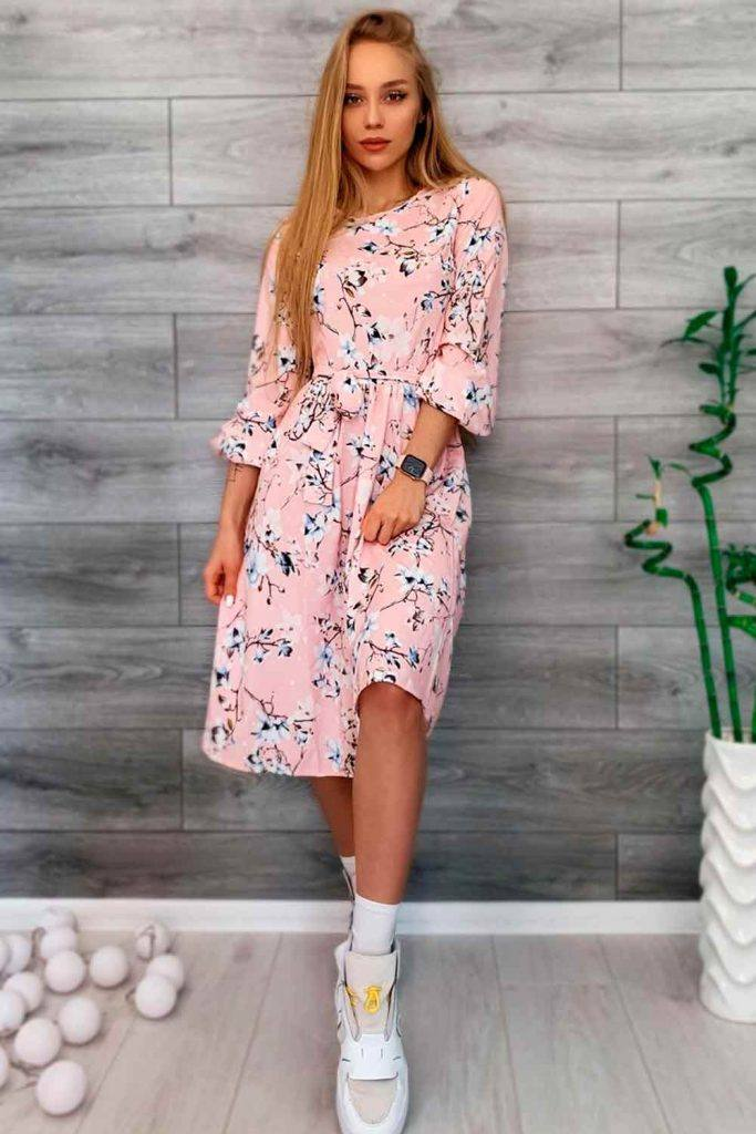 Medium Length Floral Dress With Bell Sleeves #summertime #summerdress