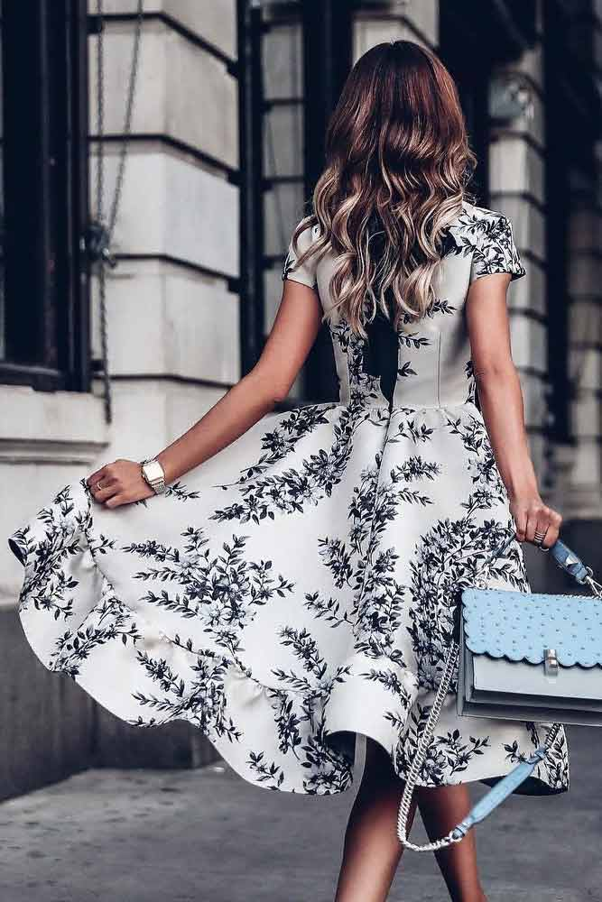 Elegant Black And White Floral Dress #summerdress #casualdress