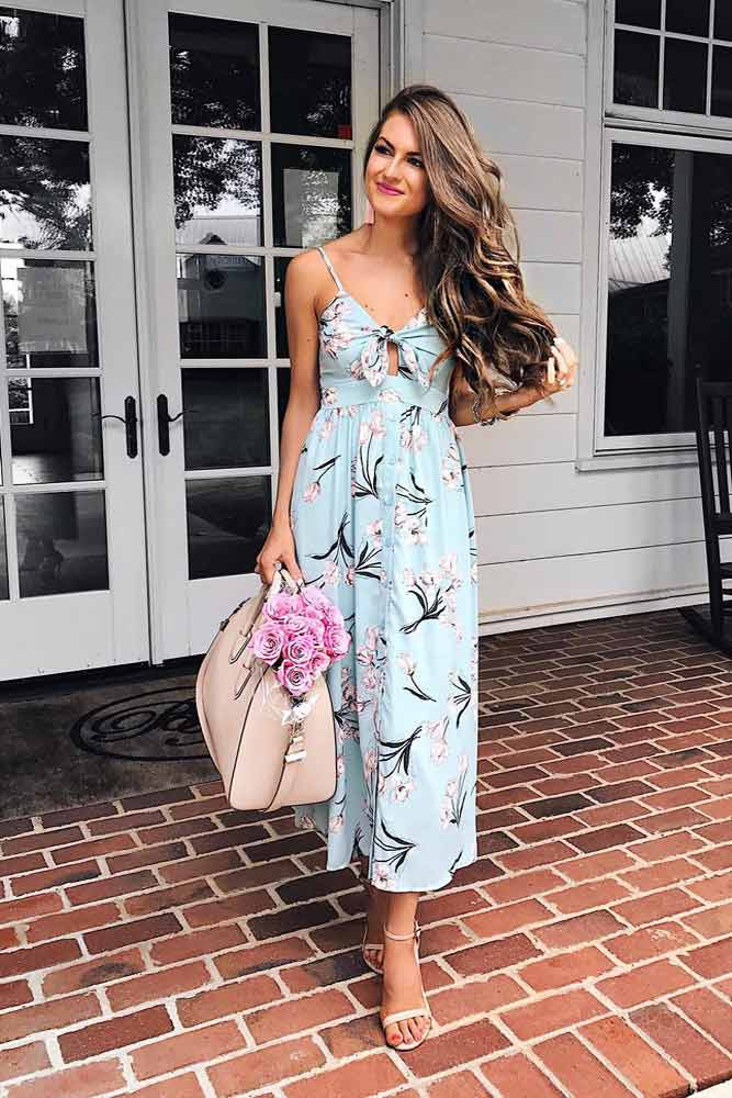Blue Tea Length Summer Dress #bluedress #longdress
