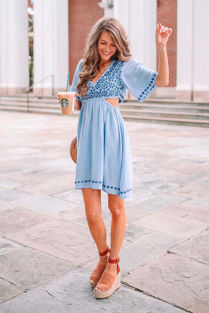 Blue Cut-Out Mini Dress #bluedress #minidress