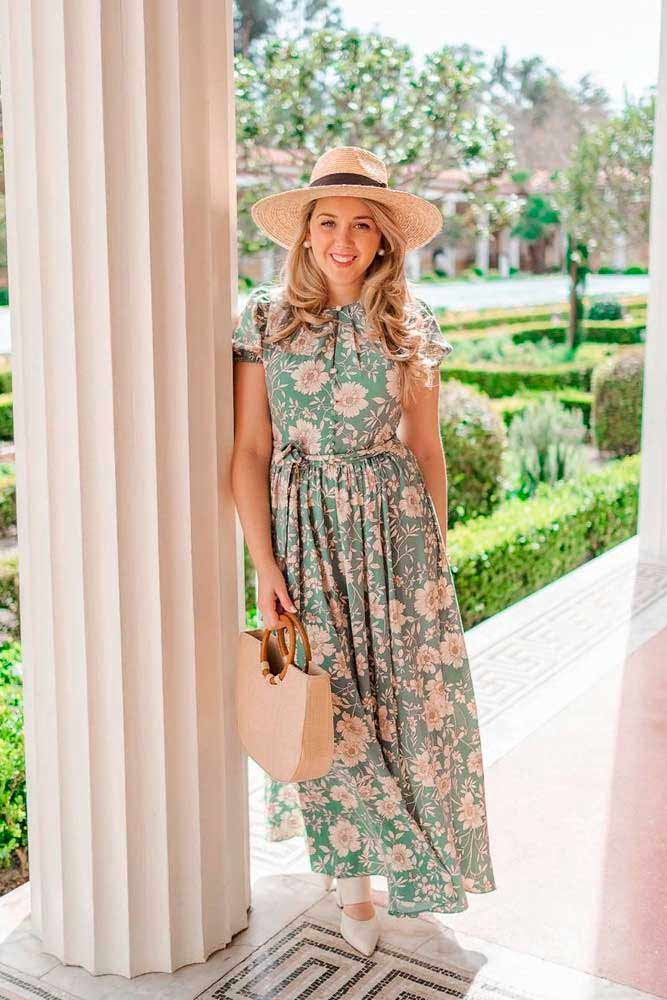 Pale Green Long Floral Dress #summerdress #longdress #casualdress