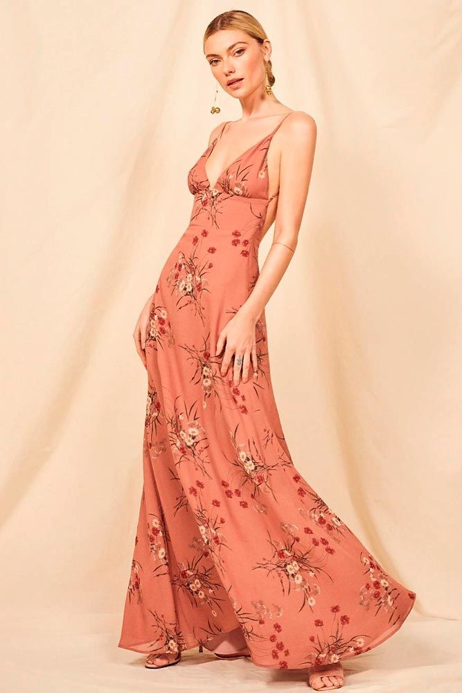 Long Peach Dress With Flowers #longdress #summerdress