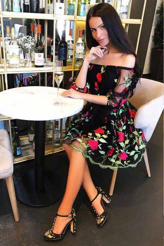 Medium Length Off-Shoulder Dress #mediumdress #offshoulderdress #blackdress