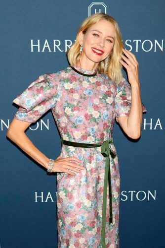 Floral Dress With Choir Boy Sleeves #choirboysleeves  #elegantdress #naomiwatts