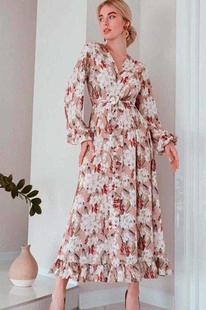 Tea Length Dress With Poet Sleeves #longdress #patterneddress