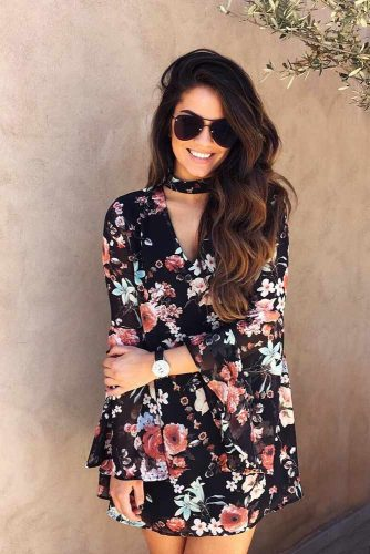 Short Black Floral Dress With Long Butterfly Sleeves #shortdress #blackdress #longsleevesdress
