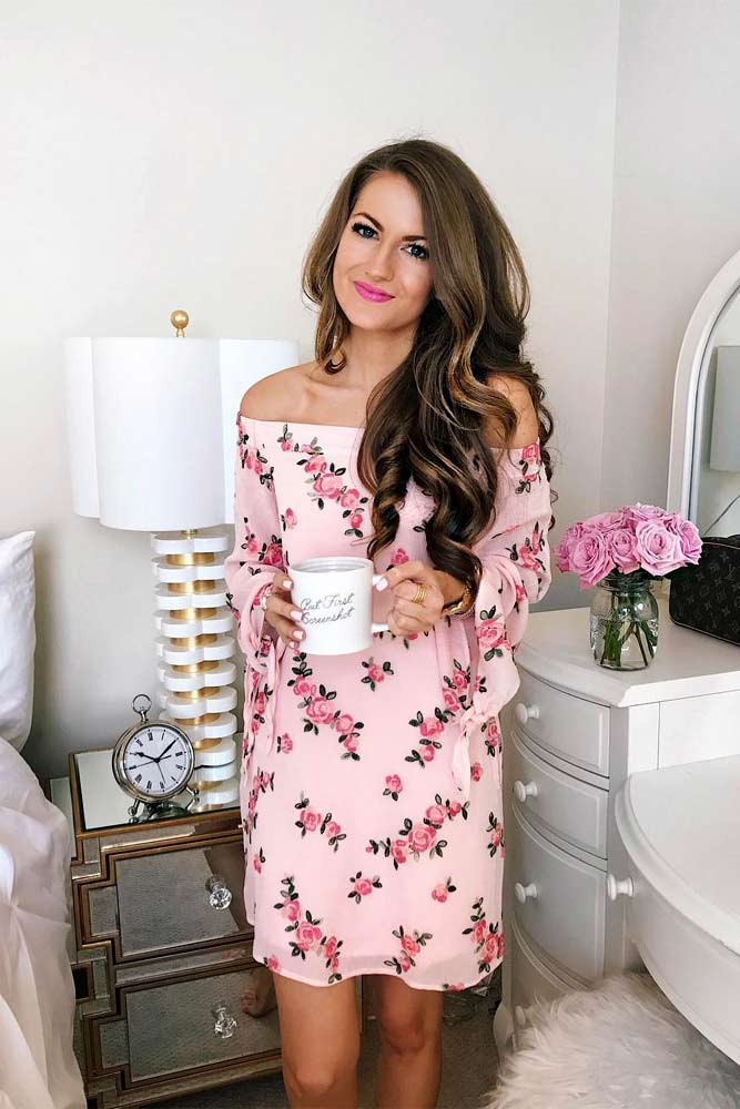 Short Off-Shoulder Dress With A Floral Print #shortdress #pinkdress #offshoulderdress