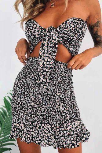Sexy Black Shoulder Off Floral Dress #sexydress #minidress #summerdress