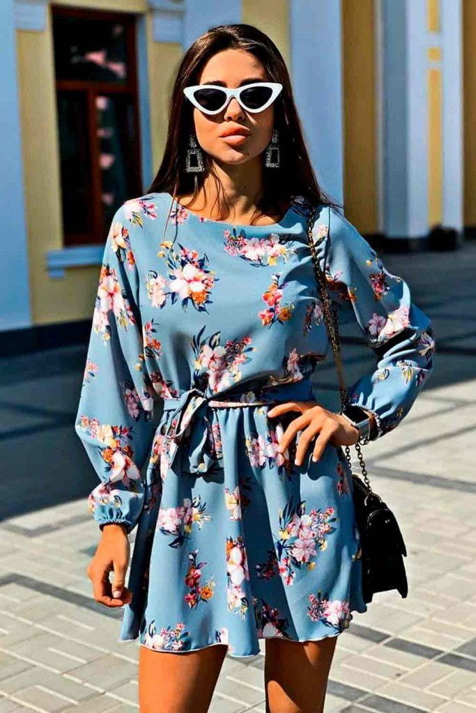 Short Silk Dress With Long Sleeves #silkdress #bluedress