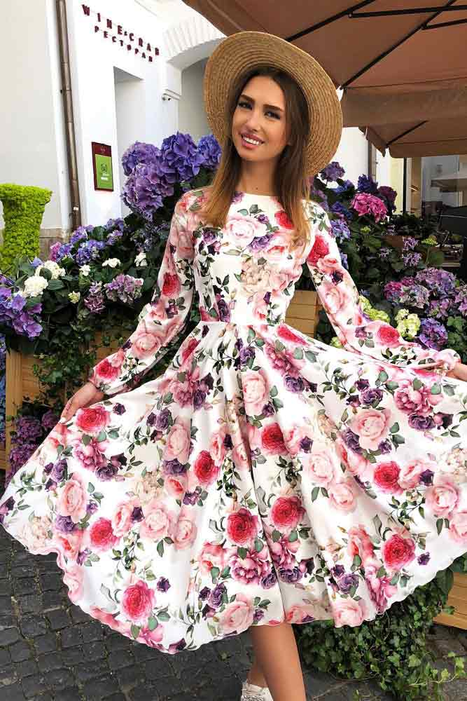 Tea Length Floral Dress With Long Sleeves #longdress #whitedress #longsleeves