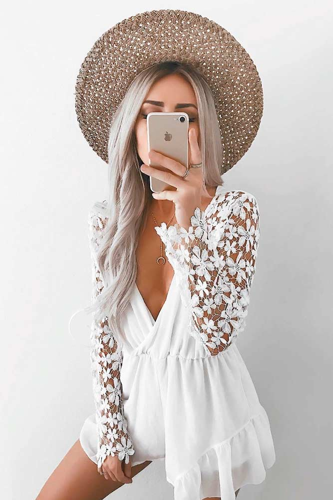 White Mini Dress With Lace Sleeves #whitedress #minidress