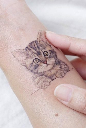 Tiny Tattoo Design With Cat #cattattoo