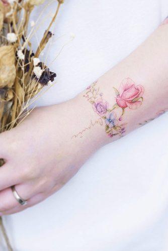 Floral Bracelet Tattoo With Rose #flowertattoo #rose #bracelettattoo